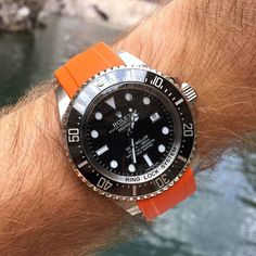 REPOST!!! Orange you happy its Friday? Get ready for a great #strapsaturday #watchfam with your favorite Everest Band! We love the Orange Rubber for the Rolex Deepsea - www.everestbands.com repost | credit: ID @everestbands (Instagram)