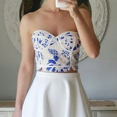 """Endlessrose Blue & White Lace Crop Top Bustier Not Topshop. Brand is Endless Rose. Listing due to similarities to the brand. Strapless crop top in blue. Contrast piping and round edged hem. Has slight padding. New!   Medium: L - 10"""", W - 14"""", B - 16"""" Fits 6-8 Topshop Tops Crop Tops"""