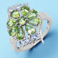 2.39CTW Genuine Peridot & White Topaz .925 Sterling Silver Ring - http://www.johareez.com/shop/justbuyit/rings/2-39ctw-genuine-peridot-white-topaz-925-sterling-silver-ring-1-27277/$10622893