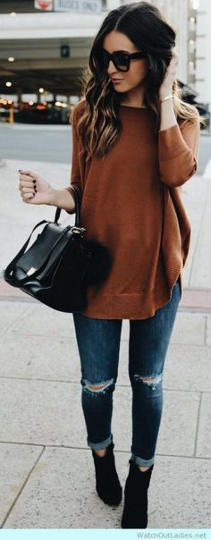Earth Tones and Jeans!! Classy? YES! It is the look you should try this fall! Trending HOT <3