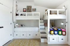 Designer Kelly Moore and her husband (also named Kelly) designed every detail of this expansive and eclectic home they share with their three daughters. Corner Bunk Beds, Bunk Bed Rooms, Bunk Beds Built In, Home Bedroom, Girls Bedroom, Bedroom Decor, Lego Bedroom, Childs Bedroom, Kid Bedrooms