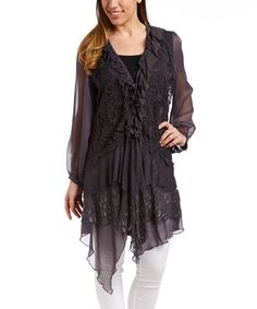 Look what I found on #zulily! Dark Gray Lace Ruffle Long-Sleeve Linen-Blend Top by Pretty Angel #zulilyfinds
