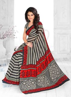 True elegance will come out of your dressing trend with this multi colour georgette casual saree. The print work seems chic and ideally suited for any occasion. Comes with matching blouse. (Slight var...