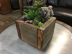 Reclaimed Barnwood Planter Box Wood Planter Box, Wood Planters, Outdoor Planters, Flower Planters, Outdoor Decor, Scrap Wood Projects, Pallet Projects, House Projects, Reclaimed Barn Wood