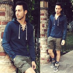 Zara Pullover Hoodie! I have this one. But hate the shorts and the sneakers.
