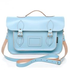 Zatchels pastel blue leather satchel (I'm obsessed with this company! Bleu Pastel, Accessorize Bags, Best Bags, New Bag, Leather Satchel, Purses And Handbags, Shoe Bag, Baby, Satchels