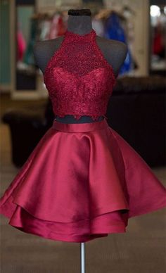 da080cbc8e5 Two Piece Round Neck Short Tiered Satin Homecoming Dress with Lace ...