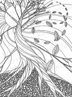 dead tree autumn  zentangle adult coloring page gift wall art line drawing