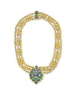 A SAPPHIRE, EMERALD AND GOLD NECKLACE, BY LOUIS COMFORT TIFFANY, TIFFANY & CO., circa 1928, 15¼ ins.  By Louis Comfort Tiffany, signed Tiffany & Co.