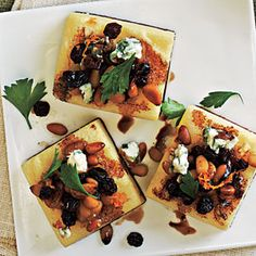 Polenta Squares with Gorgonzola and Pine Nuts | MyRecipes.com