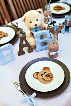 Boy Shower: Adorable Teddy Bear Theme with blue, white & brown as colors