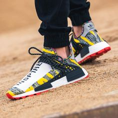 Adidas x Pharrell Williams NMD Afro HU Yellow Black White Release Date August 18 2018 Adidas x Pharrell Williams NMD Afro HU Yellow Black White Credit adidas nmd pharrell sneakerhead Pharrell Williams, Afro, Adidas Nmd, Adidas Sneakers, Shoes Sneakers, Sneakers Workout, Men's Shoes, Human Race Shoes, Sneakers Fashion
