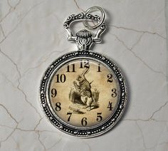I'm Late - Alice in Wonderland Rabbit Pendant Necklace - Faux Pocket Watch with Rabbit by Analiese on Etsy