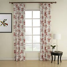Country Red Print Polyester Window Curtains (Two Panels) – USD $ 109.99