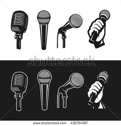 Set of monochrome microphones. Karaoke related design elements. Retro microphones minimalistic graphic set. Vector vintage illustration. - stock vector