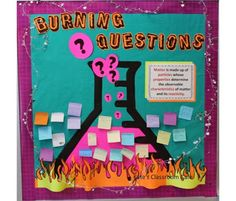 Questions Science Bulletin Board from Kate's Classroom Cafe. Finally a place to put all those intense student questions!Burning Questions Science Bulletin Board from Kate's Classroom Cafe. Finally a place to put all those intense student questions! Science Lessons, Teaching Science, Science Education, Science Experiments, Physical Science, Mad Science, Science Ideas, Science Activities, Science Interactive