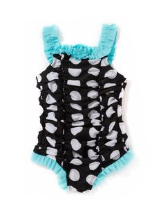Ruched Polka Dot Baby Girl Swim Suit