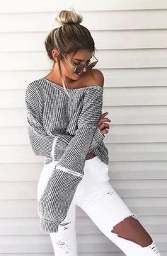 #winter #fashion /  Grey Off Shoulder Knit + White Skinny Jeans