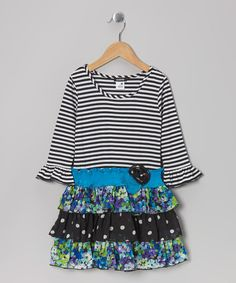 Take a look at this Blue & Black Stripe Floral Tiered Ruffle Dress - Girls on zulily today!