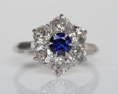 Circa 1900 - Platinum Art Deco Sapphire & Old European Diamond Engagement Ring - VEG#496