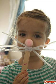 the Easy Easter DIY Crafts Easter bunny mask-add bunny teeth