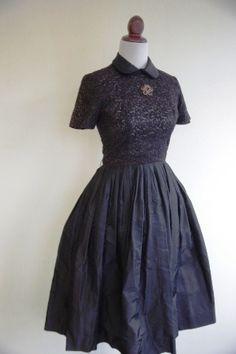Vintage 1950s Black Lace Party Dress