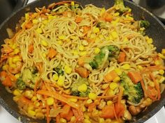 Simple, but so tasty! And I would never have guessed that peanut butter would do the trick. So jammy! Chow Mein, Chow Chow, Broccoli, Peanut Butter, Tasty, Simple, Ethnic Recipes, Food, Meals