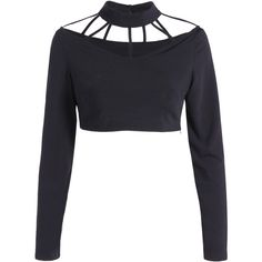 Long Sleeve Choker Crop Top ($30) ❤ liked on Polyvore featuring tops, cut-out crop tops, long sleeve crop top, white crop tops, long sleeve tops and cropped tops