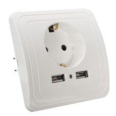 새로운 도착 5 볼트 2A 듀얼 USB 포트 벽 충전기 어댑터 EU 플러그 소켓 전원 콘센트 패널