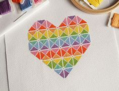 Geometric Cross Stitch Kit - Modern Heart Design - Original Handmade Kit | eBay