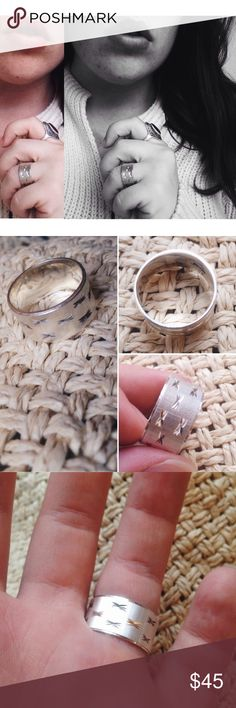 Vintage silver ring sz 7 Beautiful thick sterling silver vintage band. The design is small stars engraved over a background of very thin stripes that catch the light beautifully. Size 7. Boutique Jewelry Rings