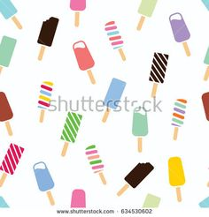 vector seamless ice cream pattern. colorful cartoon background with fruit and chocolate popsicles. paper wrapping design