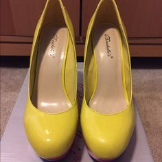 Neon wedges Neon Wedge shoes! So cute! Reminds me of spring!  Never too early to shop for Spring and while your clothing size may change, your shoe size won't LOL! Get em now! No trades! Will take offers. New in box, never worn.  Shoes Wedges