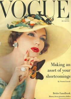 Model Joanna McCormick on the cover of July 1957 Vogue