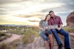 Wedding engagement photography. Arizona Papago park with beautiful desert views.  www.benjamincliffordphotography.com