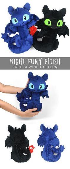 Night fury plush free PDF sewing pattern!
