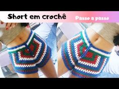 Crochet Shorts Pattern, Crochet Pants, Crochet Romper, Cute Crochet, Crochet Clothes, Crochet Top, Crochet Patterns, Como Fazer Short, Short Tejidos
