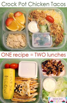 Crock Pot Chicken Tacos. Two lunches from one recipe.