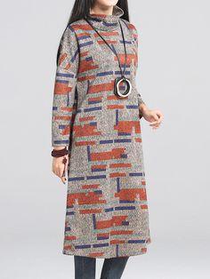 Vintage Printing Long Sleeve Turtleneck Loose Wool Dress