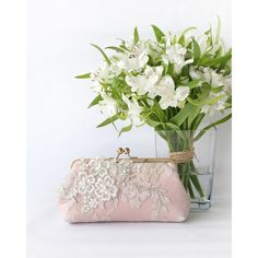Bridal Clutch With Pearl Sakura Flower Vine Lace in Blush Pink and... ($100) ❤ liked on Polyvore featuring bags, handbags, clutches, accessories, bags & purses, weddings, white, pink purse, white bridal purse and lace clutches