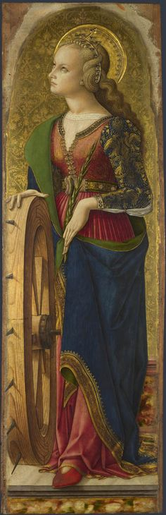Carlo Crivelli - Saint Catherine of Alexandria, This panel showing Saint Catherine of Alexandria is part of the large 'Demidoff Altarpiece' made for the high altar of San Domenico in Ascoli Piceno, east central Italy. Italian Renaissance, Renaissance Art, Religious Icons, Religious Art, Saint Catherine Of Alexandria, National Gallery, Renaissance Paintings, Medieval Art, Sacred Art
