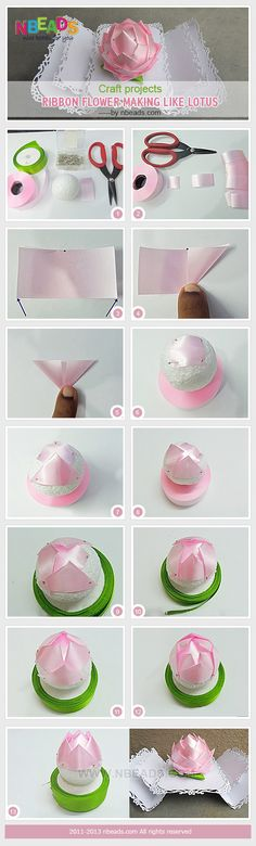 Craft Projects - Ribbon Flower Making Like Lotus diy crafts craft ideas diy… Diy Lace Ribbon Flowers, Ribbon Flower Tutorial, Kanzashi Flowers, Ribbon Art, Diy Ribbon, Fabric Ribbon, Ribbon Crafts, Flower Crafts, Fabric Flowers