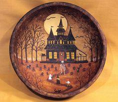 folk art halloween solitary witch cauldron cats moon magick trees print ha31 trees cats and folk art