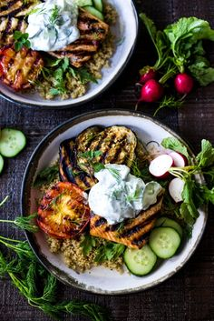 Grilled Salmon Tzatziki Bowl- a fast and delicious weeknight meal loaded up with healthy veggies!   www.feastingathome.com