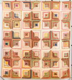 Eight pointed stars inside enlarging squares, early calico prints, all hand quilted, x Forsythes' Auctions, Live Auctioneers Old Quilts, Antique Quilts, Star Quilts, Scrappy Quilts, Vintage Quilts Patterns, Vintage Textiles, Log Cabin Quilts, Log Cabins, Calico Corners