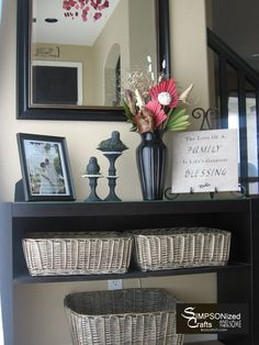 Perfect! Baskets to toss mail, magazines, etc. Large basket for purse! LOVE having stuff in a place out of sight!