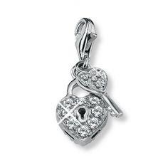 Herz mit Schlüssel Charm-Anhänger aus Silber von s.Oliver