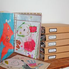 Storing children's artwork into files by age/year - love this idea! Storing Kids Artwork, Organizing Kids Artwork, Kids Art Storage, Storage Ideas, Paper Organization, Diy For Kids, Crafts For Kids, Childrens Artwork, Drawing For Kids