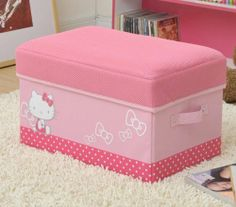 Hello Kitty Storage Box Stool Wide Peach Pink Sanrio