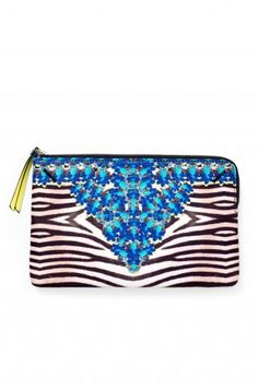 "Stella & Dot Capri Pouch - Jeweled Zebra ""Our designers used an exclusive ""trompe l'oeil"" technique to create an optical pattern of cobalt and citrine jewels on top of a zebra print"" #sparklewithaydin www.stelladot.com/aydinhoo"
